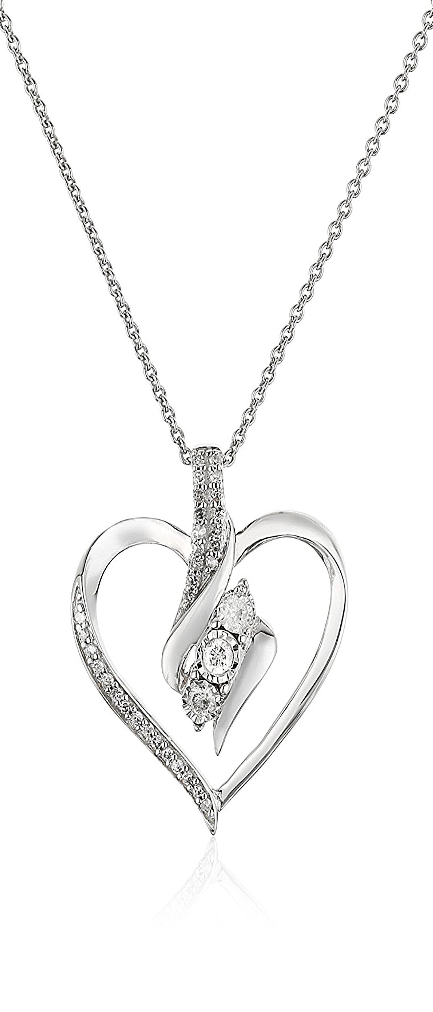 Sterling silver diamond stone heart pendant necklace cttw