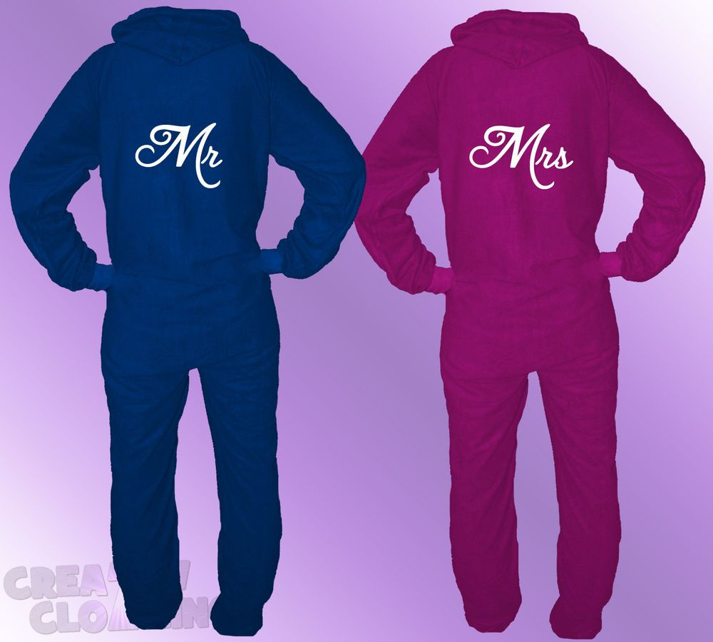 His And Hers Matching Christmas Pajamas: 2 X ONESIES MR And MRS Wedding Gift His & Hers Matching