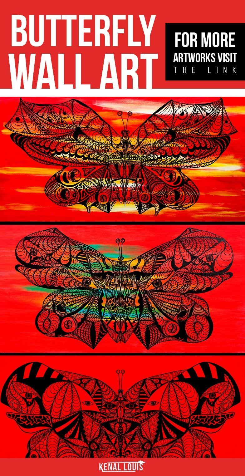 Butterfly wall art red abstract butterfly art collection