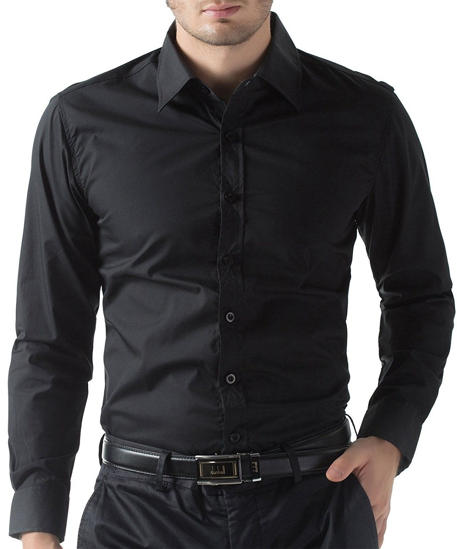 Paul Jonesmen S Shirt Mens Fashion Slim Fit Shirt Long Sleeve Button Down Cl1044 Black C6124f192vt Men Shirt Style Slim Fit Mens Shirts Business Casual Shirts [ 1500 x 1249 Pixel ]