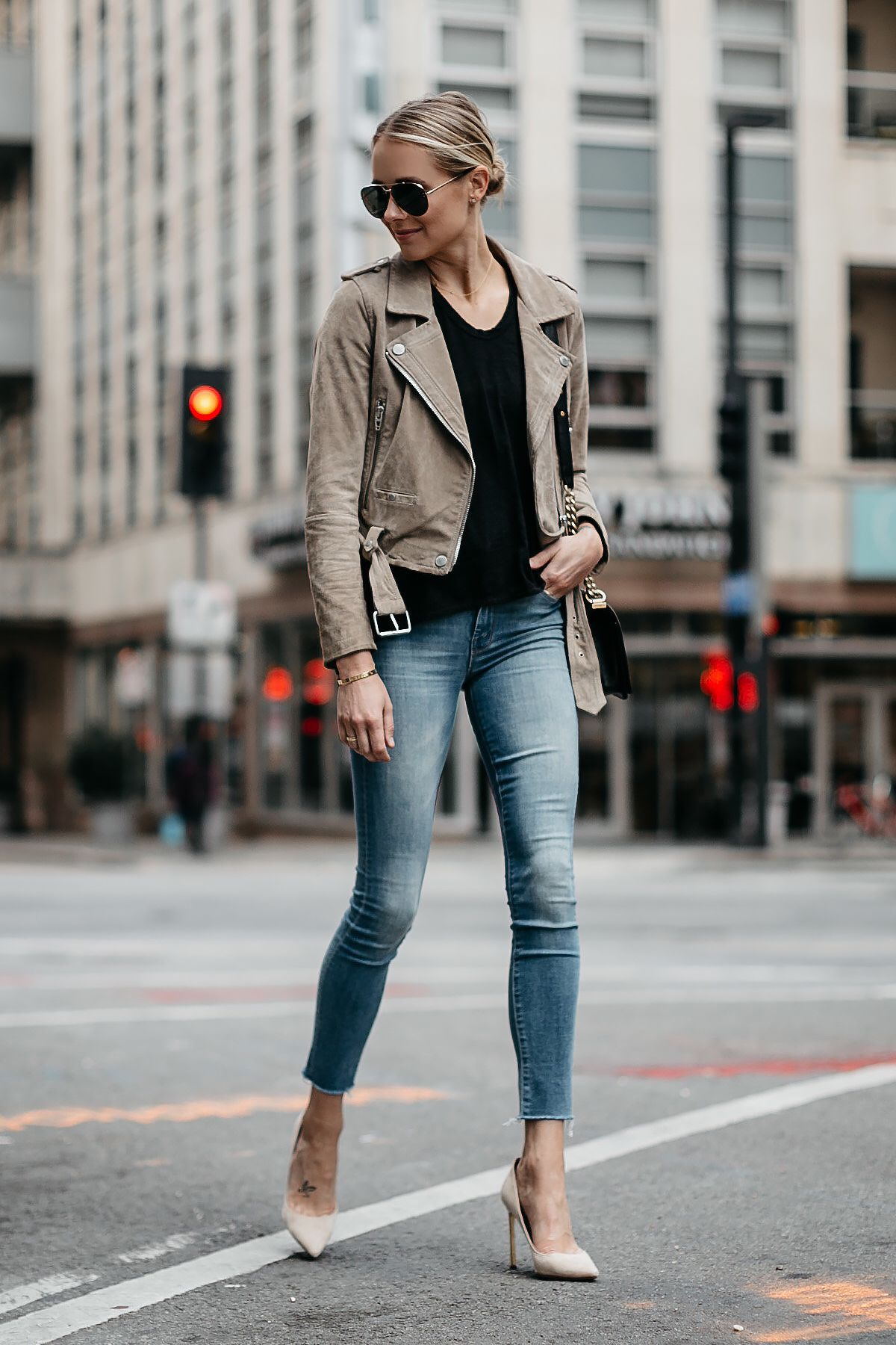 fdcf715f18 Blonde Woman Wearing Blanknyc Tan Suede Moto Jacket Black Tshirt Mother Denim  Skinny Jeans Nude Heels