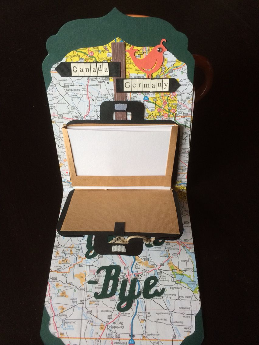 good bye card  suitcase holds cue cards to contain