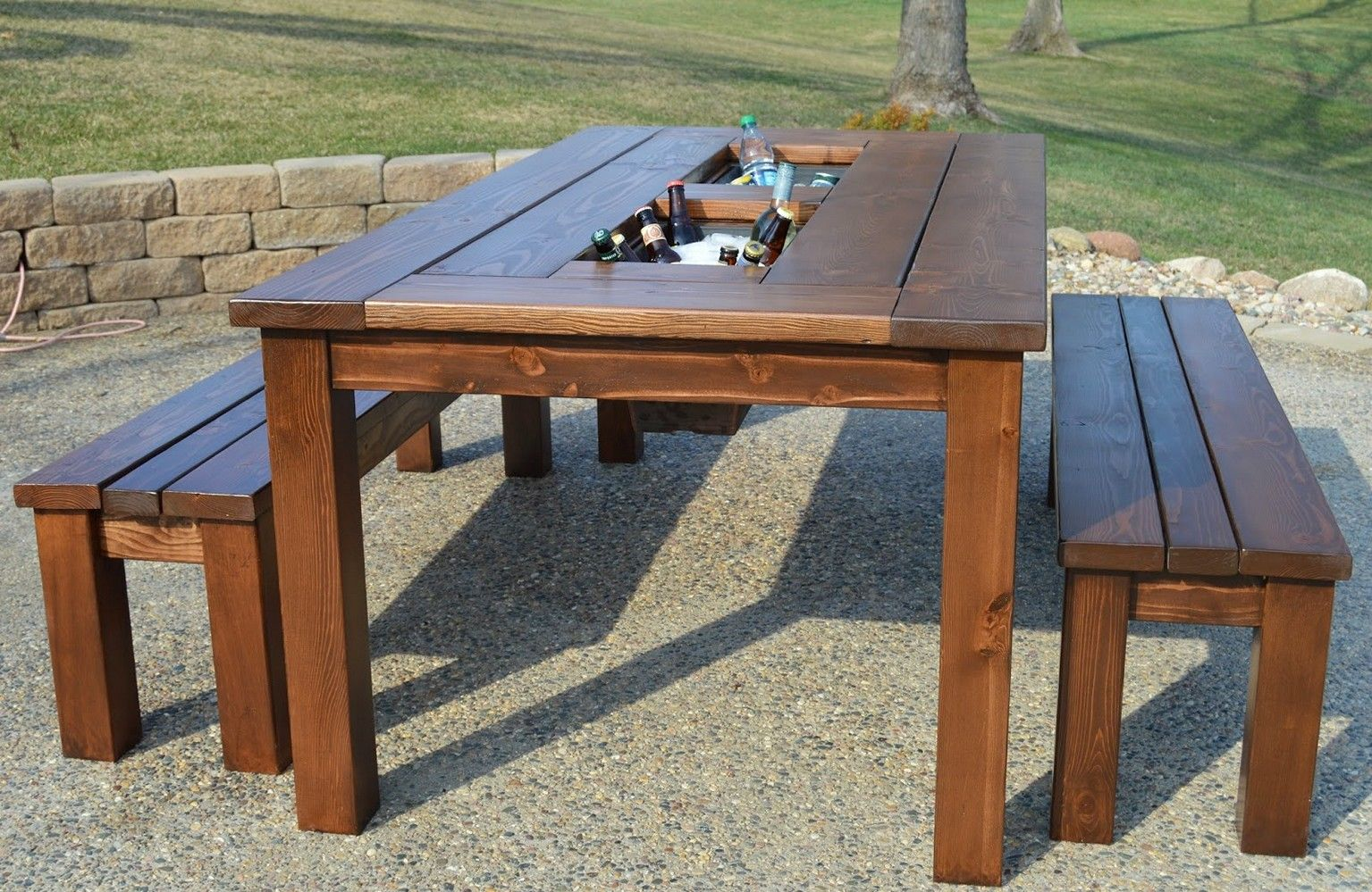 Remodelaholic Build A Patio Table With Builtin Ice Boxes Description From Junetdougherty Com I Searched For Th Wooden Outdoor Table Diy Patio Table Diy Patio