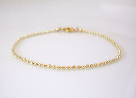 Gold Ball Chain Bracelet Double Strand Layering
