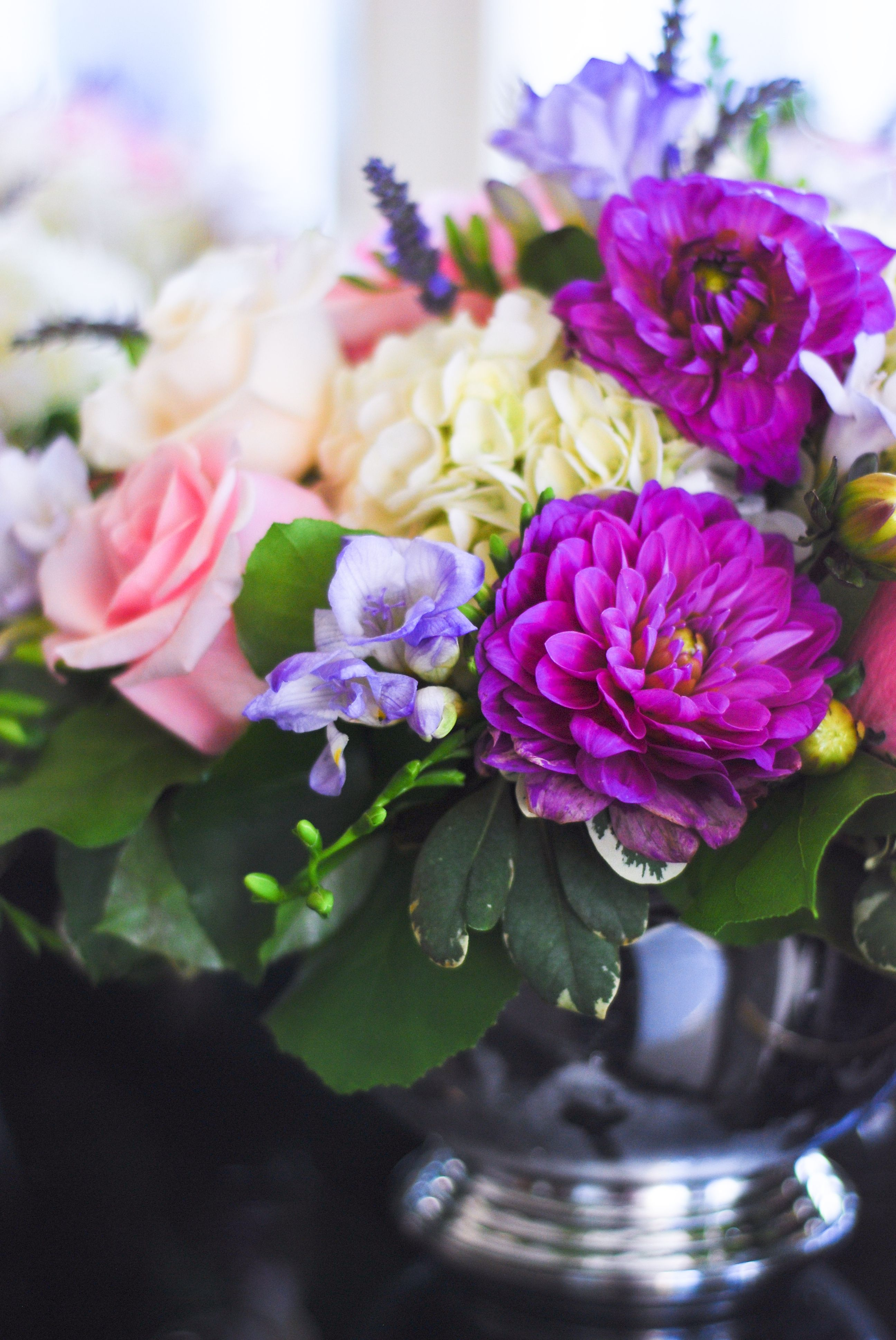 Low Pink, White & Purple Centerpiece by Aria Style