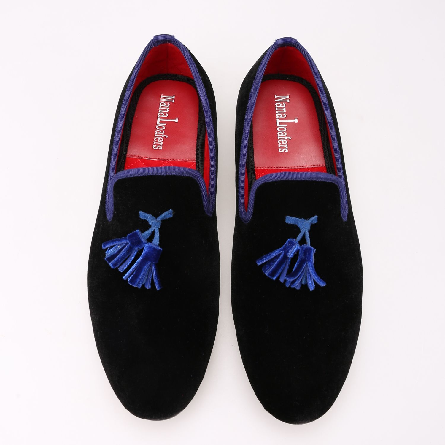 490c54f1f19 Men Royal Blue Black Velvet Loafers in 2019
