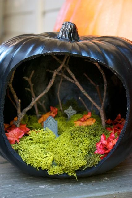 holidays halloween pumpkin diorama tutorial cool idea - Halloween Diorama Ideas