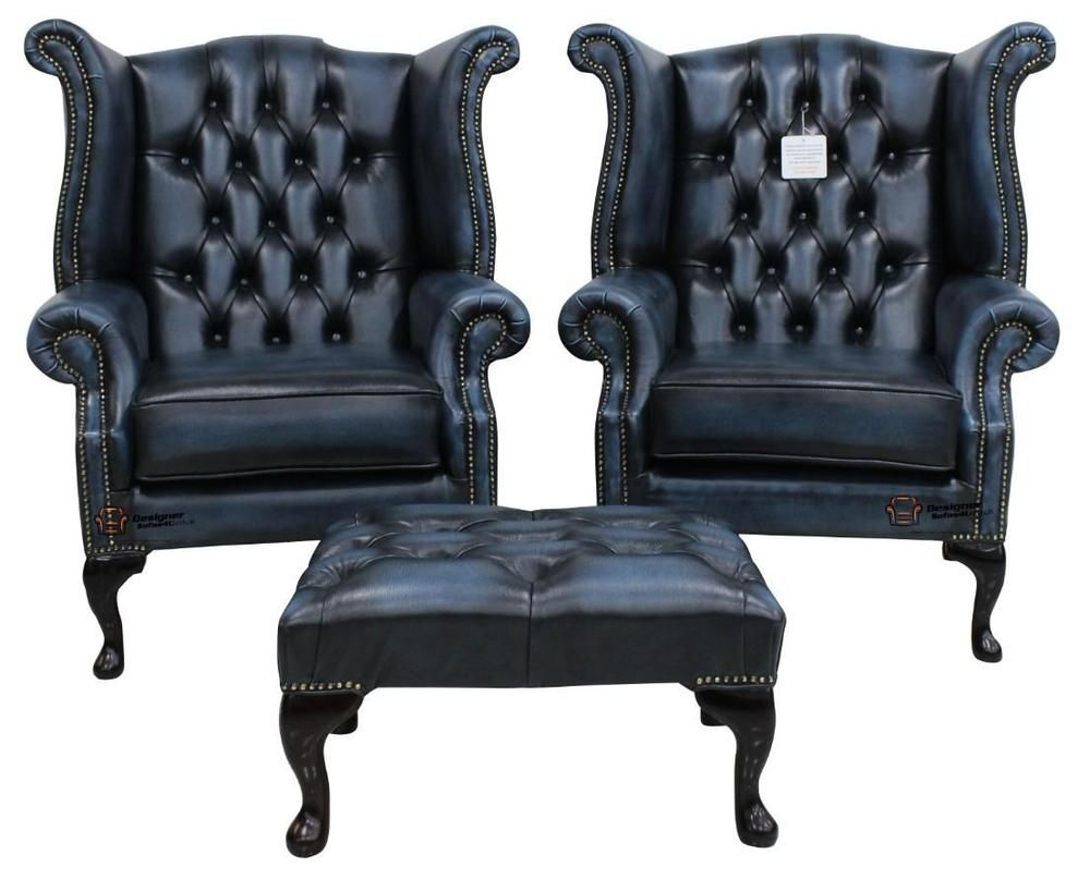 2 x Chesterfield Queen Anne Wing High Back Fireside Chairs Antique Blue  Leather | Home, Furniture & DIY, Furniture, Sofas, Armchairs & Suites |  eBay! - 2 X Chesterfield Queen Anne Wing High Back Fireside Chairs Antique