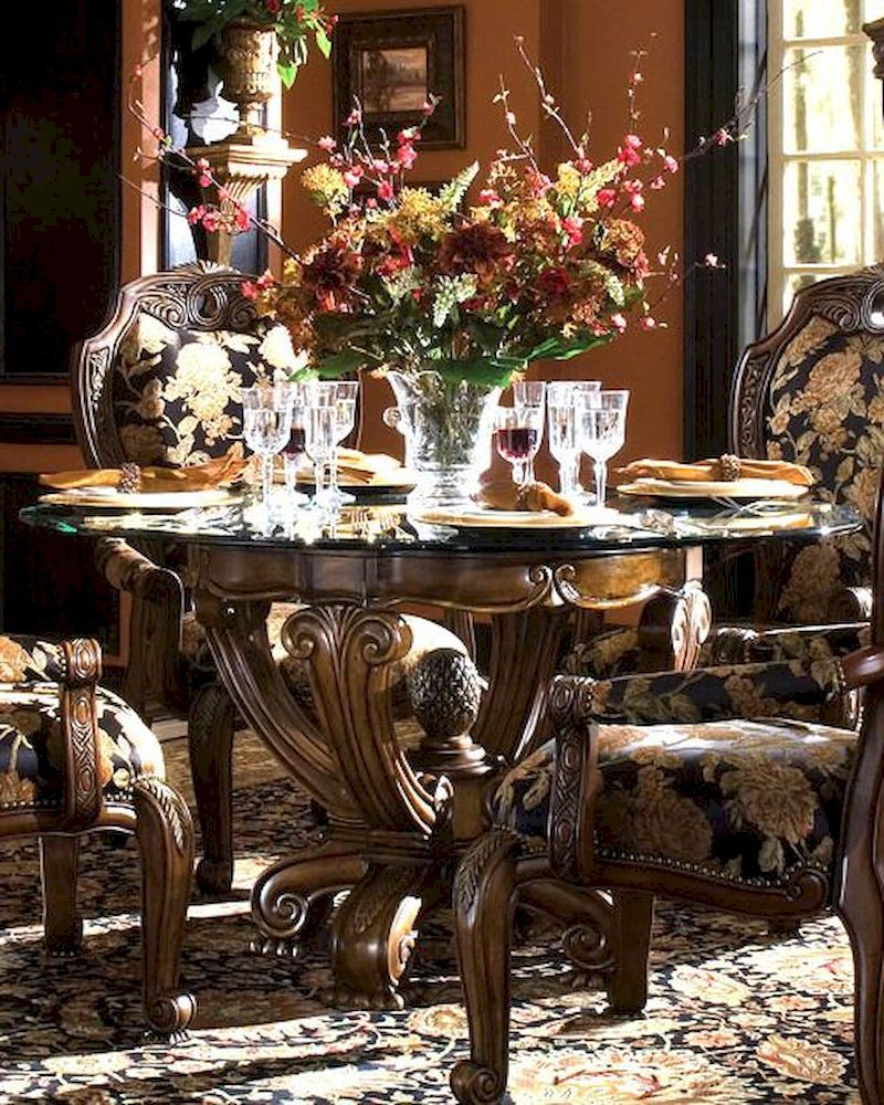 Ordinaire AICO Round Dining Table Oppulente In Sienna Spice AI 67001 67101 52