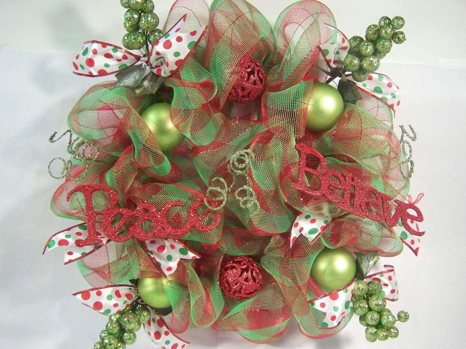 christmas wreath geo mesh poly mesh red lime green 7500 via etsy - Decorating A Christmas Wreath With Mesh Ribbon