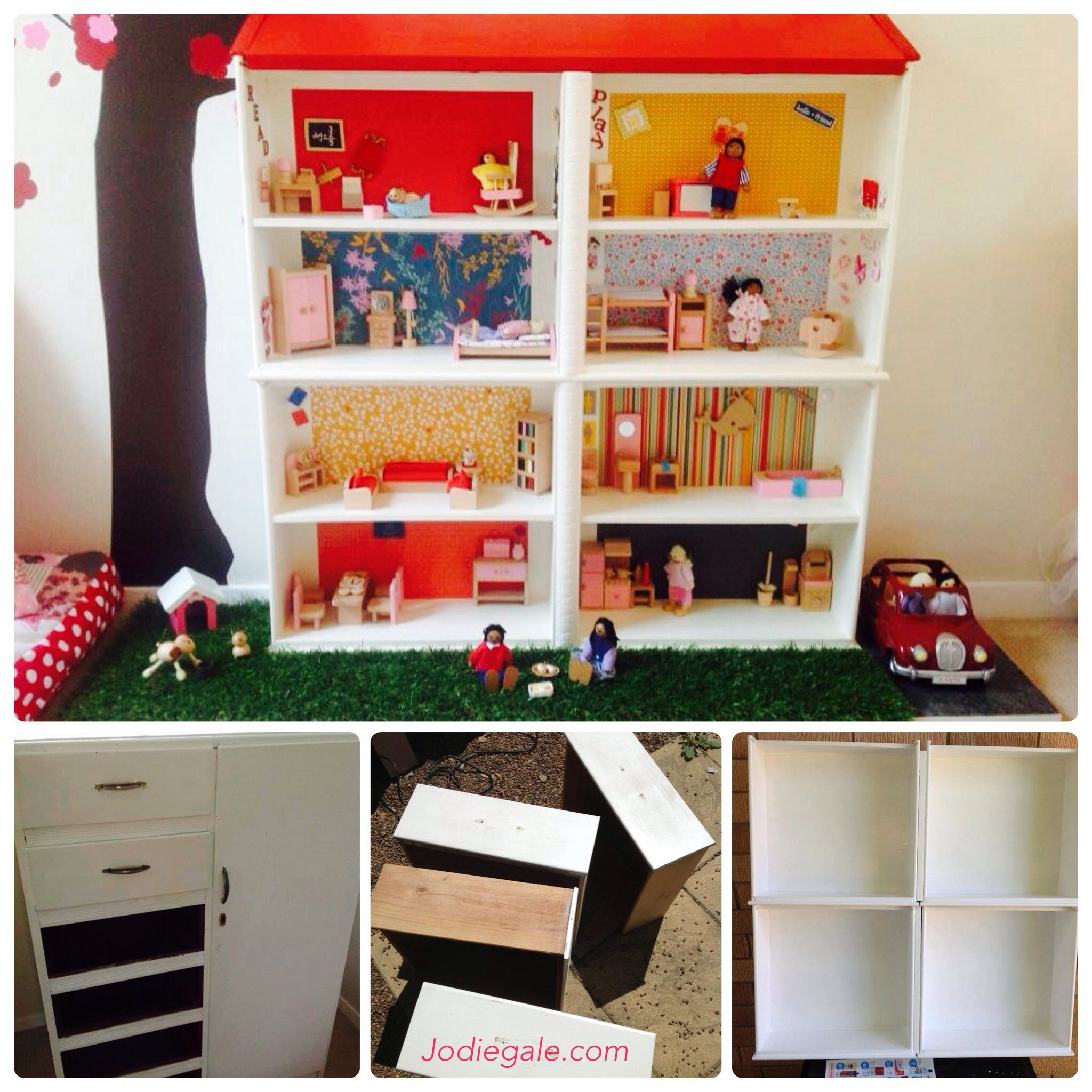 Reclaimed furniture upcycled draws into dolls house we made this dolls house out of 4 old