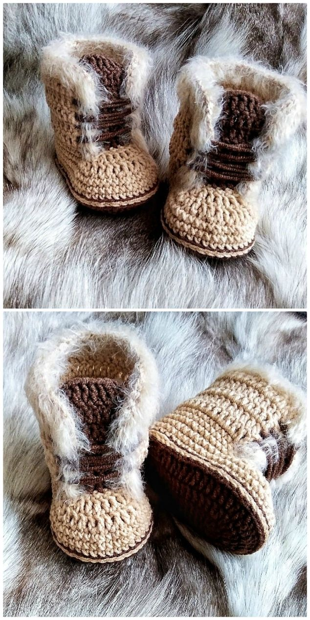 Crochet Baby Snow Boots Pattern Ideas #crochetbabyboots