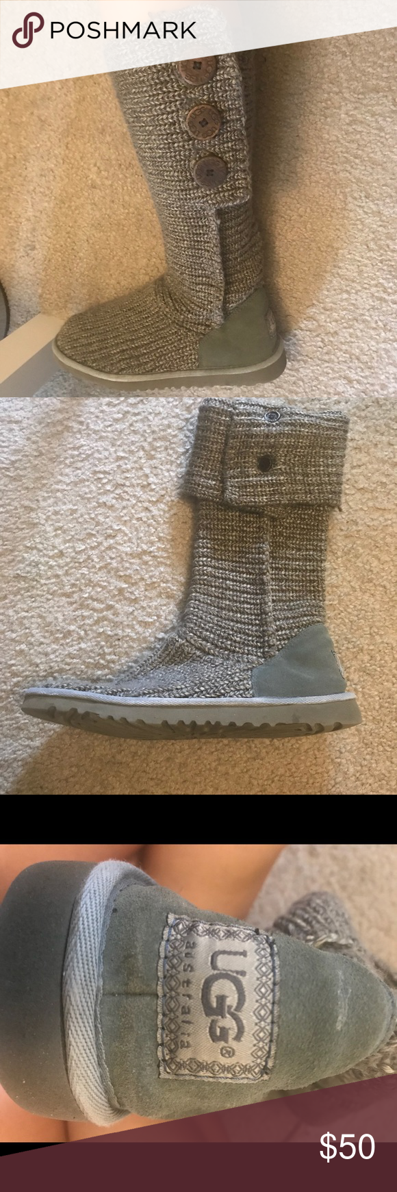 Uggs Women Sweater Boots Size 9 Grey Womens Sweater Uggs Fold Down