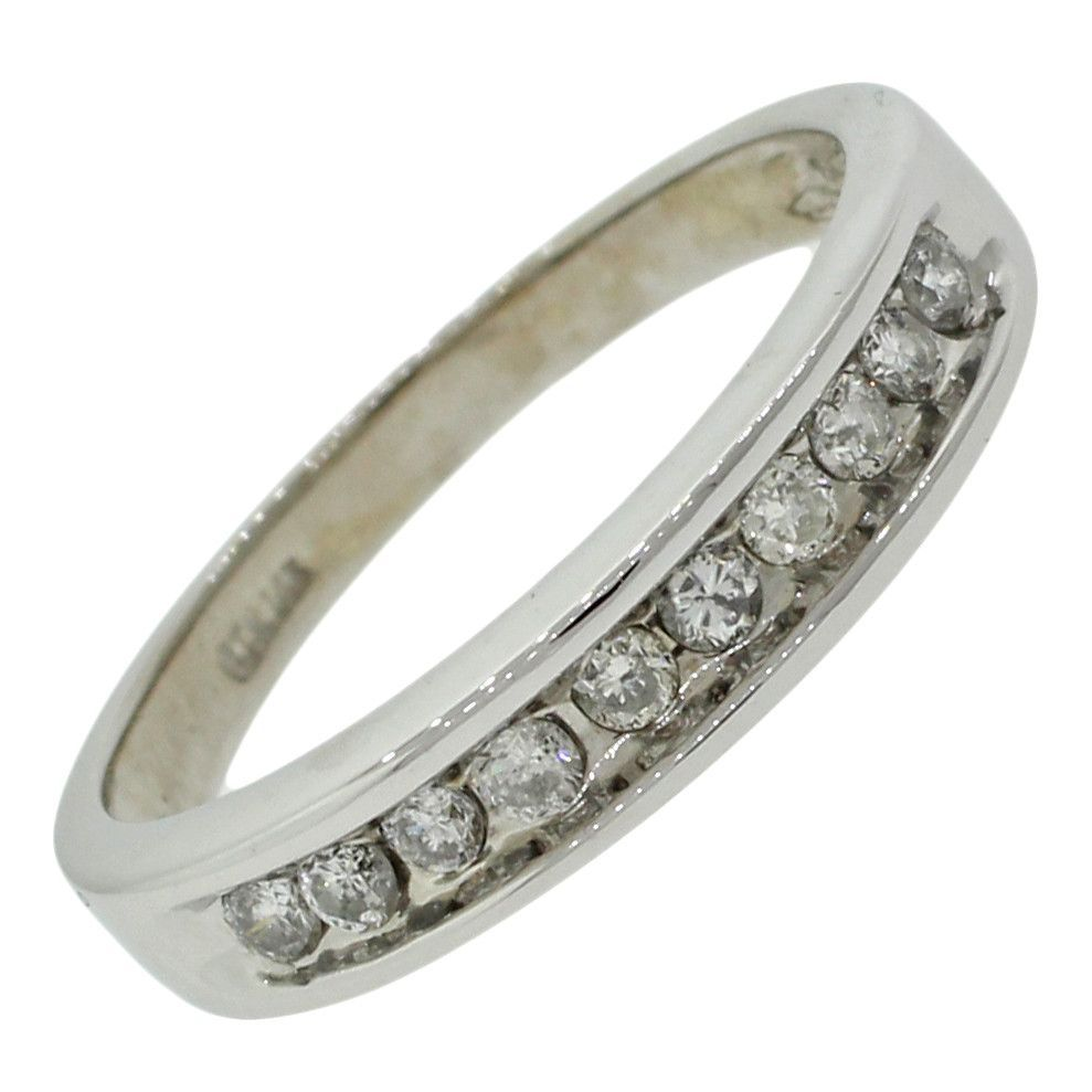 Modern 14k Solid White Gold .50ct J/SI2 Round Diamond Wedding Band Ring