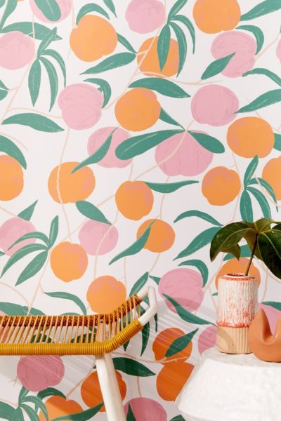 Peaches Removable Wallpaper Print Stick Peach