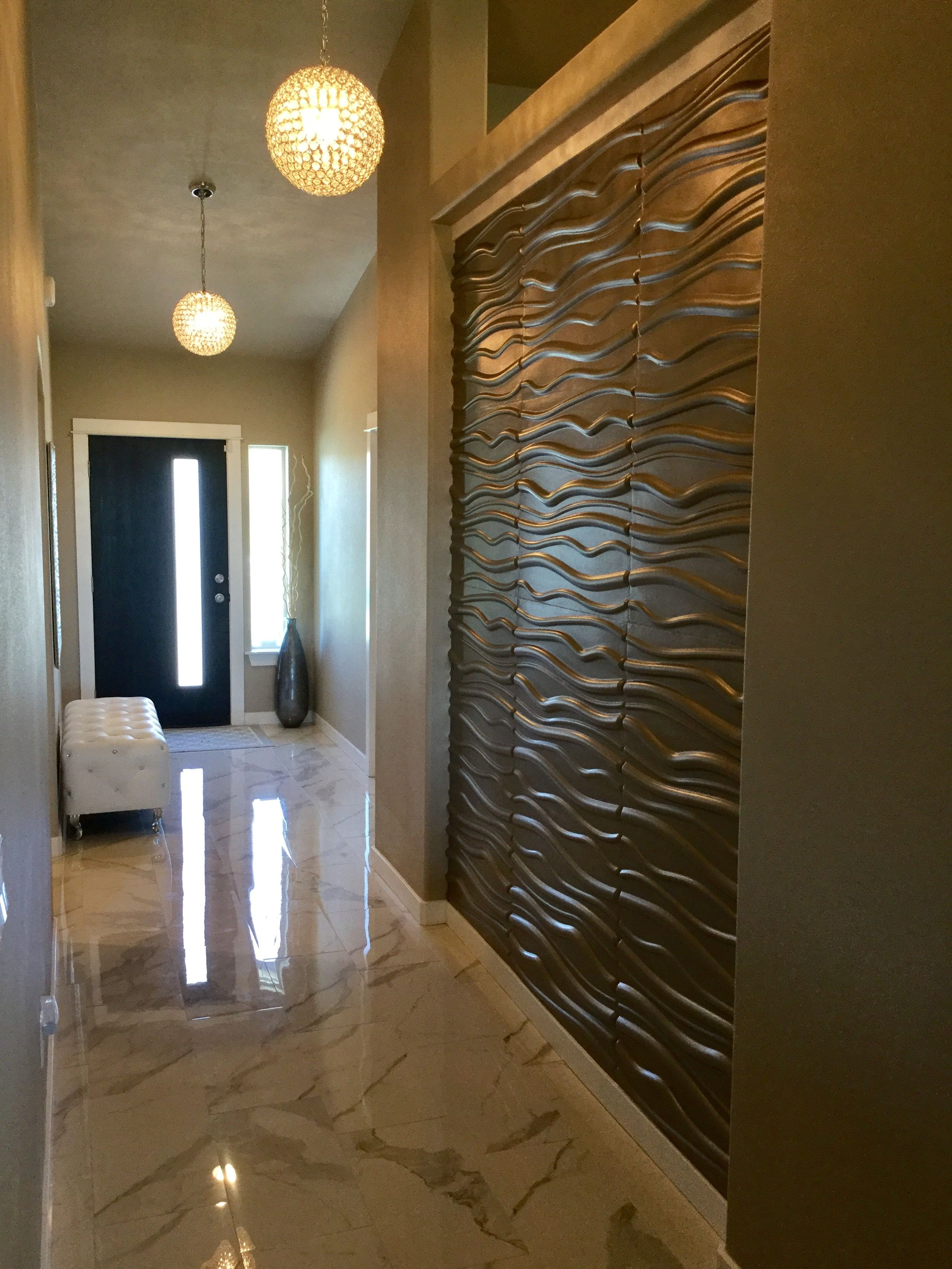 3d wall panels in hallway using metallic memories paint. Black Bedroom Furniture Sets. Home Design Ideas