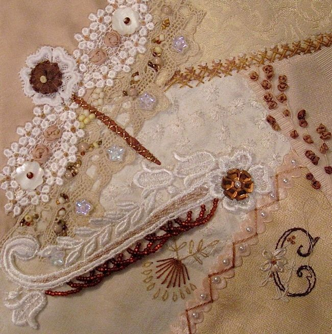 I ❤ crazy quilting & ribbon embroidery . . . Tone on Tone Dragonfly ~By Stitch Empress