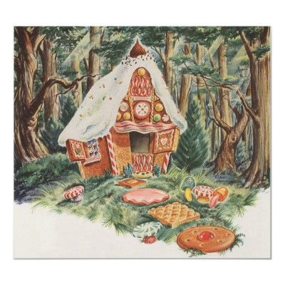 Vintage Fairy Tale Hansel And Gretel Candy House Poster Zazzle Ca Eventyr Tegning Jul