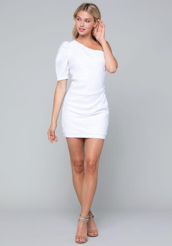 e0931458259a Bebe Women's Linen One Shoulder Dress, Size 6, White | Products ...