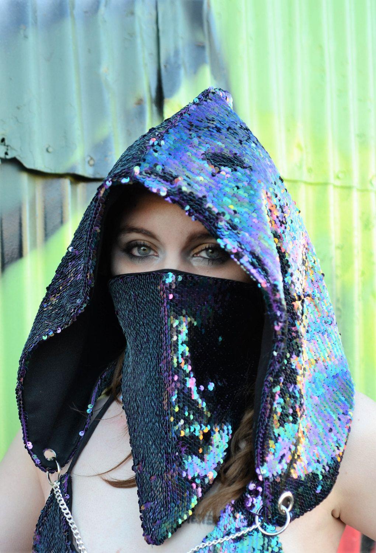 9d9ae175f43 Festival hood   rave mask iridescent rainbow purple two tone mermaid sequin  spirit hoods JBeka black party concert club wear by JBekaDesignCompany on  Etsy