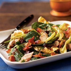 Warm Turkey and Spinach Salad with Crispy Pancetta and Cranberry Vinaigrette - YUM!