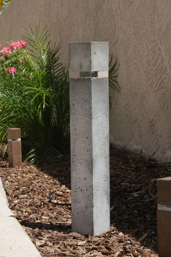 Custom Concrete Outdoor Landscape Light 12 V Dc 21 Tall 3 X 3 Sealed Concrete Bollard 3 4 Thick Concrete Light Outdoor Landscape Lighting Patio Lighting