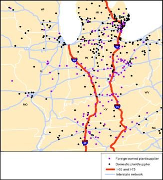 The Map Shows The Locations Of Foreign And Domestic Auto Plants - Us map ststes route 80