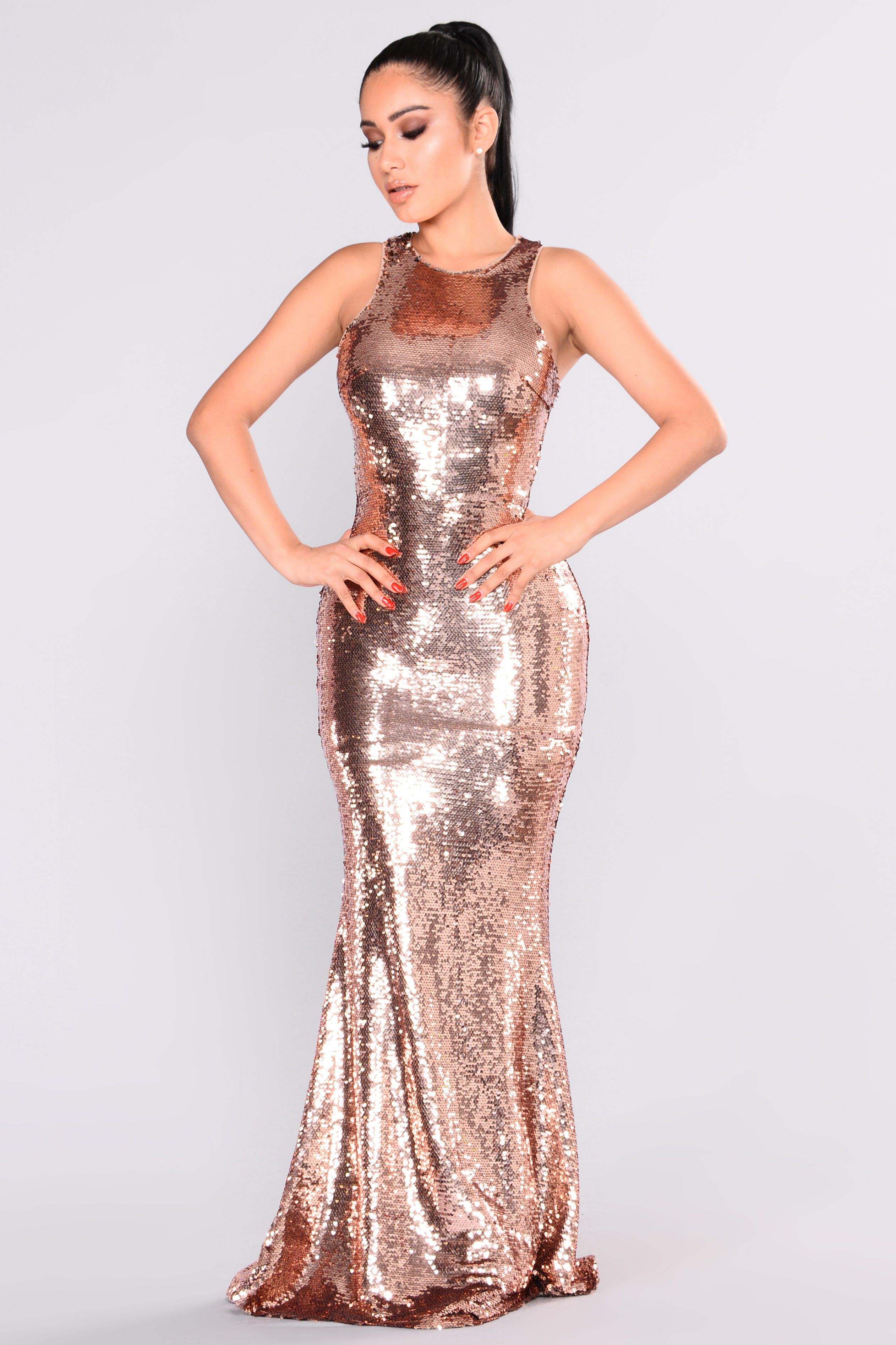 Grandeur sequin dress rose gold sequins mermaid gown and neckline