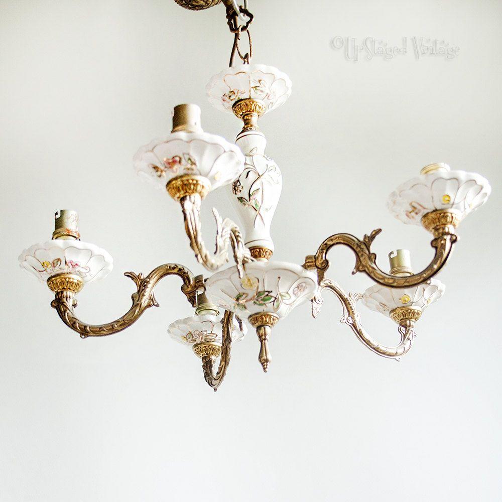 Vintage 5 Arm Capodimonte Style Floral Porcelain Chandelier Light ...