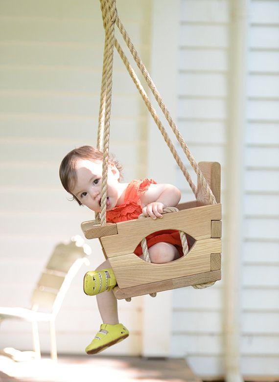 Handmade Wood Toddler Swing In 2020 Toddler Swing Handmade Wood Swing