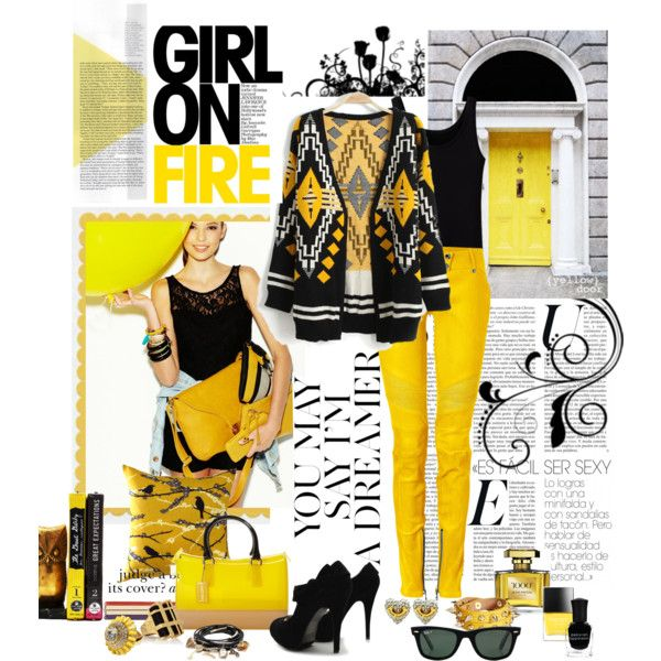 """""""Yellow and Black!"""" by gigi on Polyvore"""