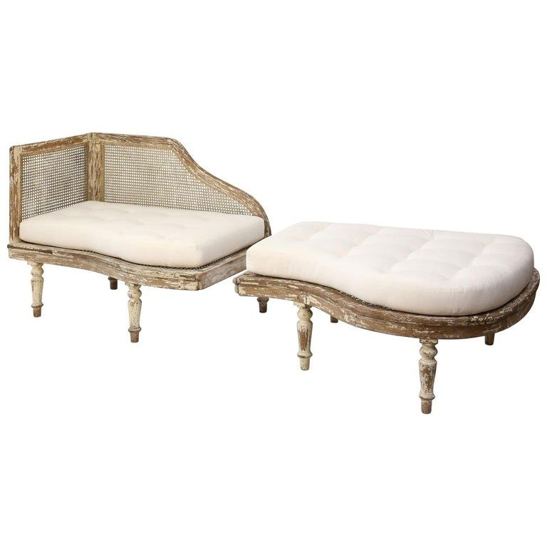 French Vintage Duchesse Brisee In Light Green Beige Paint Chaise Armchair With Ottoman Chaise Lounge
