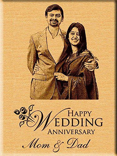 Incredible Gifts India Personalized Wedding Anniversary Gift Engraved Photo Plaque  Inches X  Inches