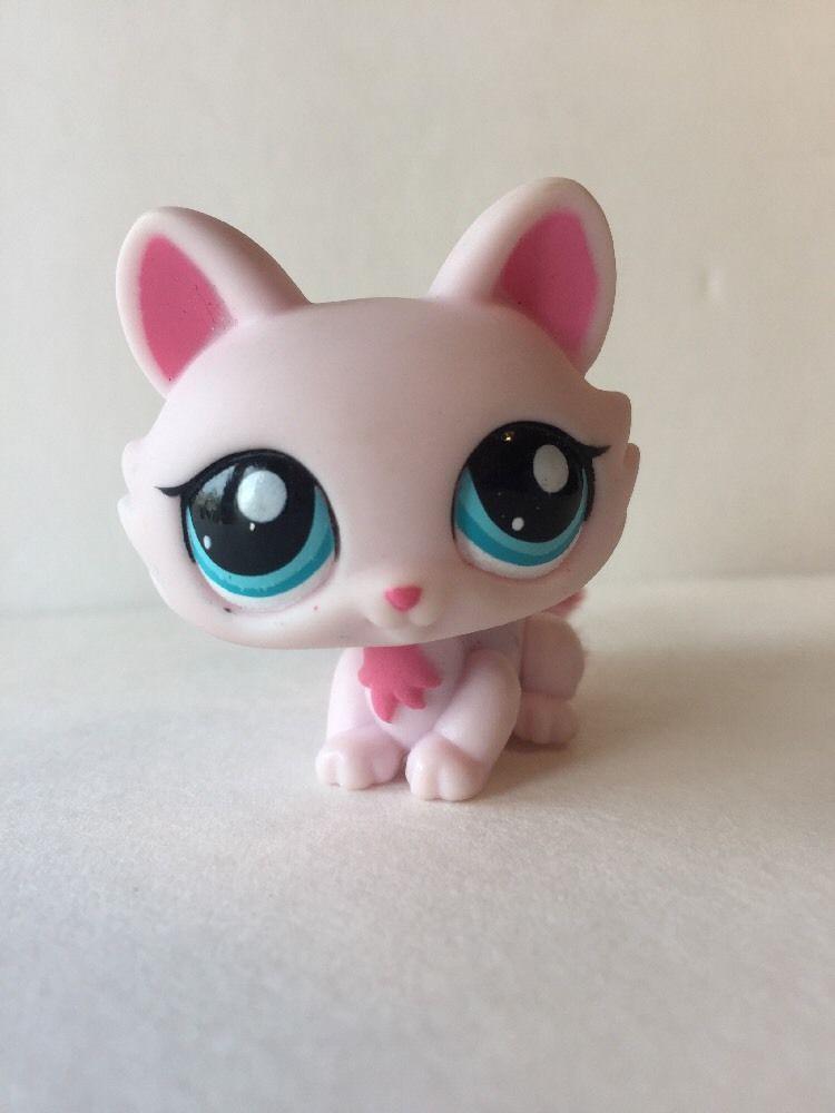 Littlest Pet Shop Lps Pink Crouching Cat 2619 Blue Eyes Fuzzy Tail