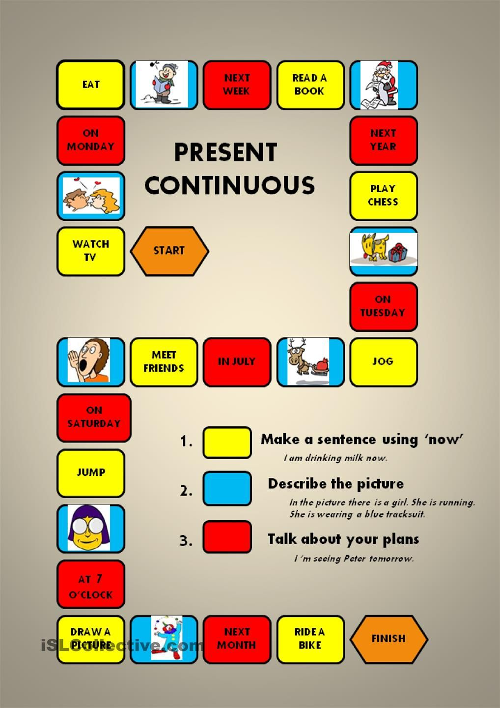 Present Continuous - a boardgame | English | Pinterest ...