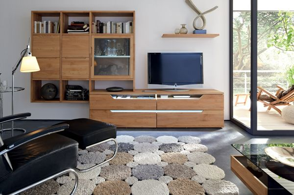 Tv Stand Furniture With Wooden Wall Unit By Hulsta Avec Images Meuble Salon Design Meuble Salon Meuble Mural
