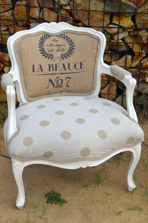 Vintage Accent Arm Chair French Style with Polka Dots and Burlap - comment peindre une chaise