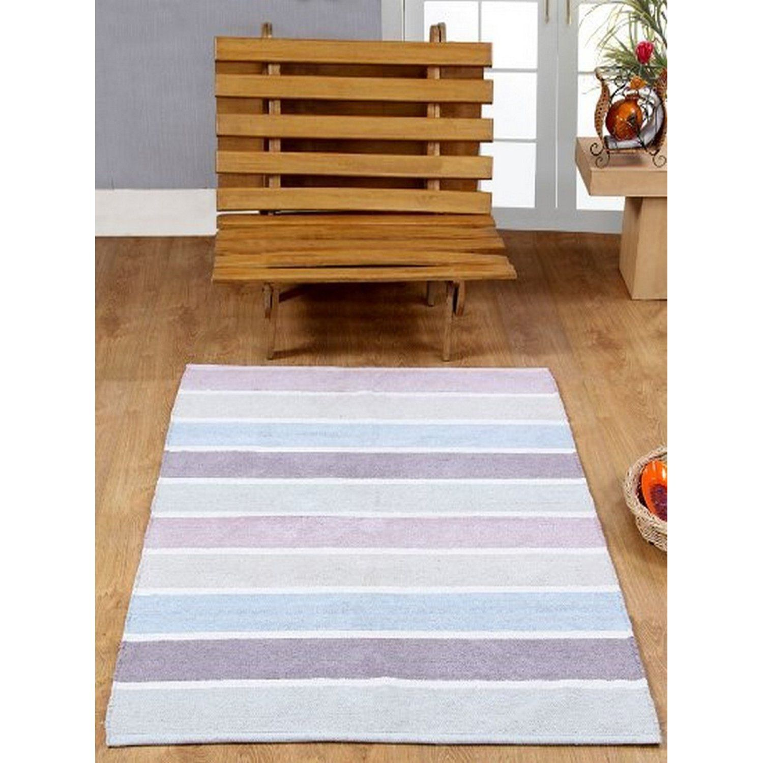 Homescapes 100 Cotton Chenille Stripe Rug Blue Beige Purple Heather Grey Natural Stripes 60 X 100 Cm Washable At Home Kids Room Striped Rug Rugs Colorful Rugs