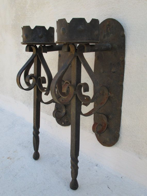 Pair Of Wrought Iron Meval Gothic Torch By Vintagevalise1