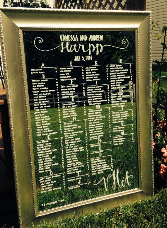 Hand Drawn Calligraphy Wedding seating chart Mirror by CoastalCalligraphy
