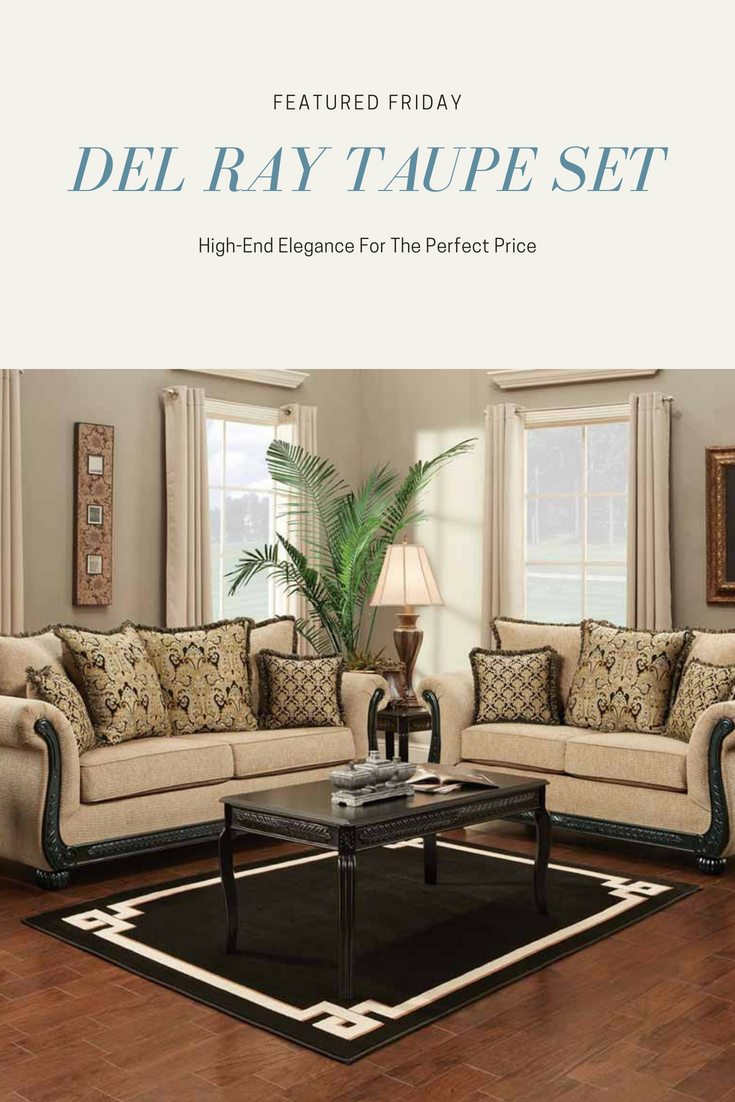 Living Room Set With Gold And Fringe Accent Pillows Taupe Wood Accent Rolled Arms Bring European Elegance For Yo Taupe Sofa Living Room Sets Loveseat Sofa #taupe #living #room #set