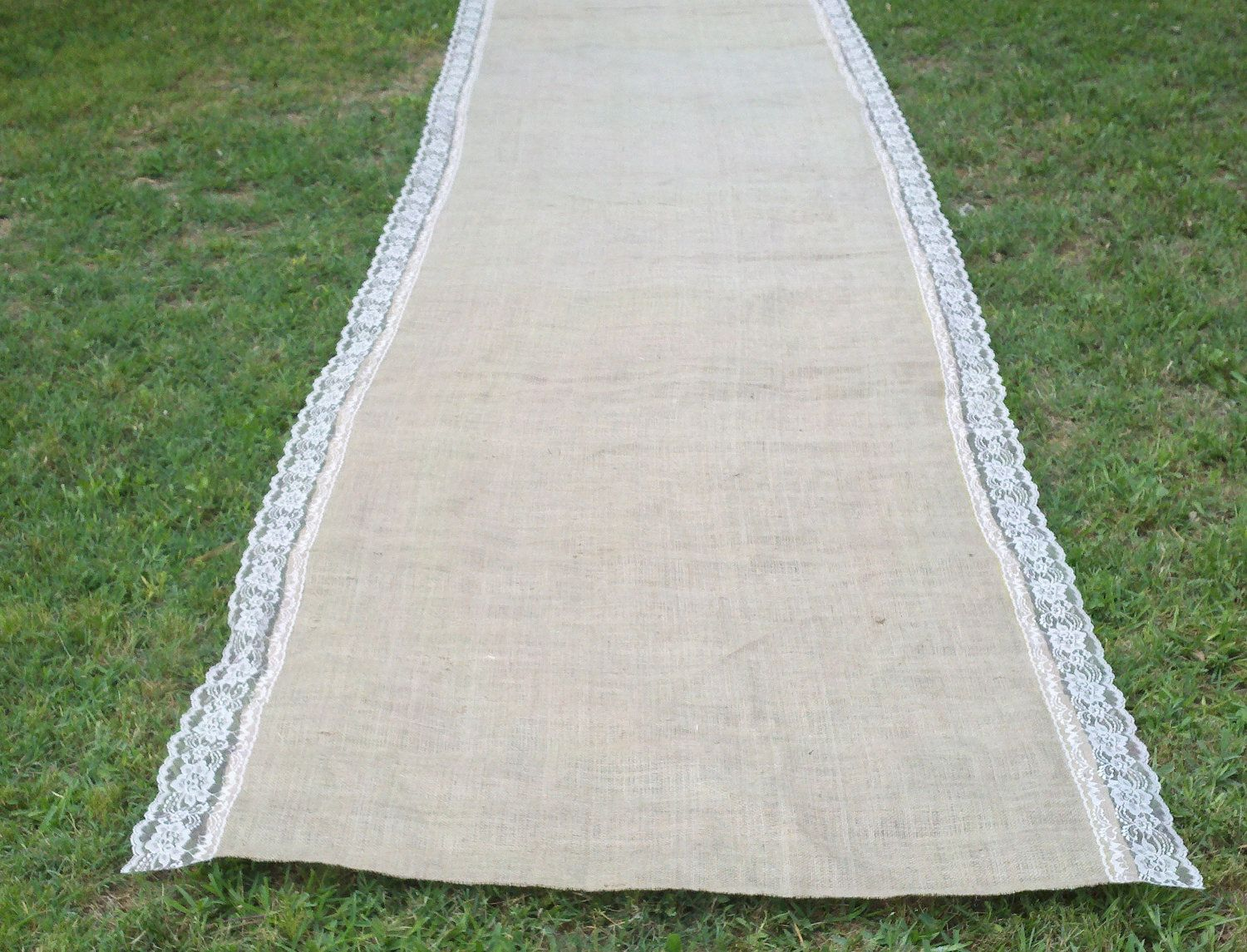 Burlap Aisle Runner With Natural Lace I Think We Could Make This Always And Forever On One