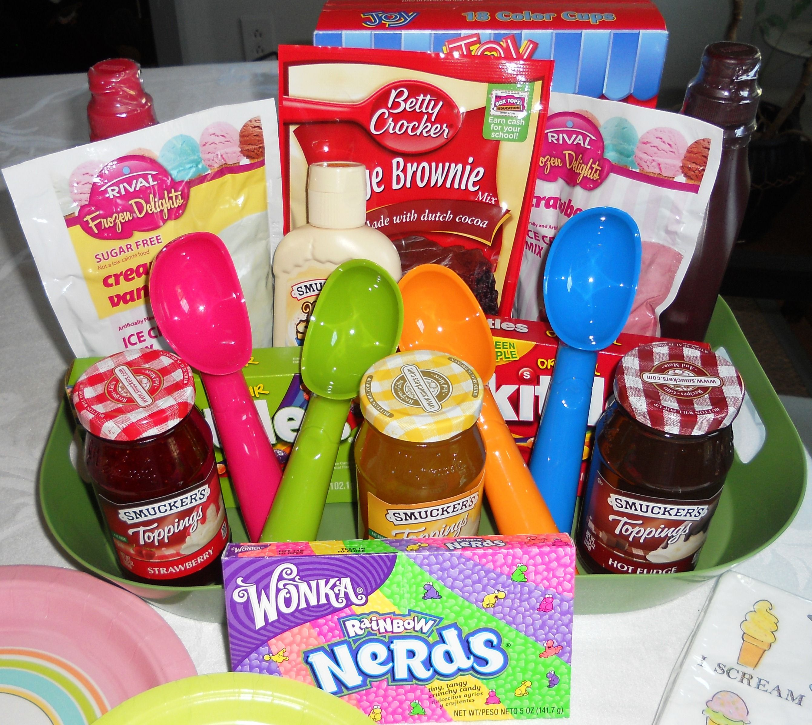 Ice Cream party basket | gift baskets | Pinterest | Basket ideas ...