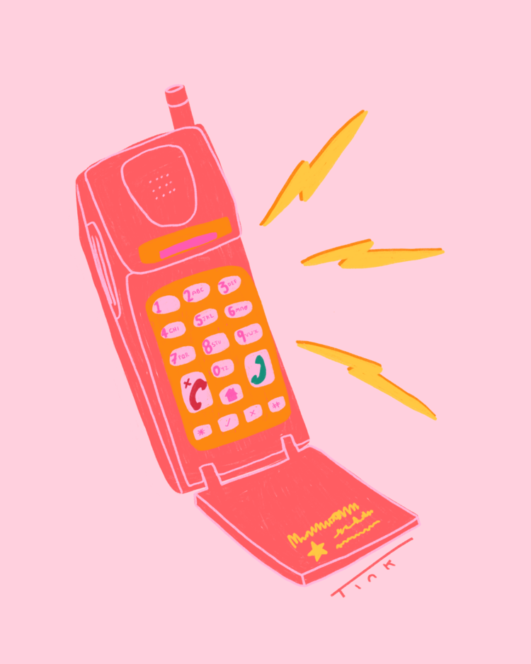 Retro cellphone illustration by Tink | Octavia Bromell