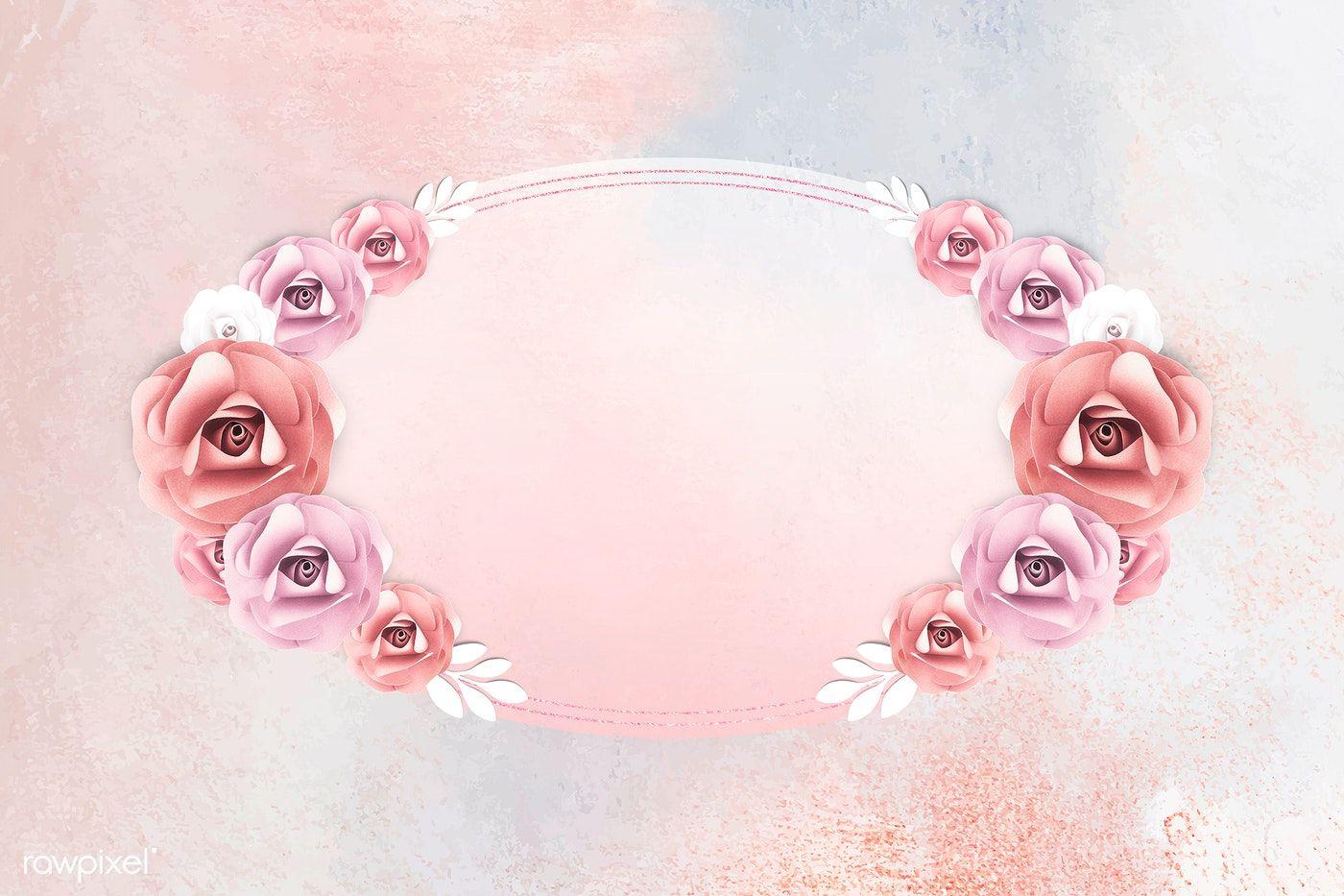 Download Premium Illustration Of Rectangle Paper Craft Flower Frame Vector Flower Frame Flower Crafts Flower Illustration