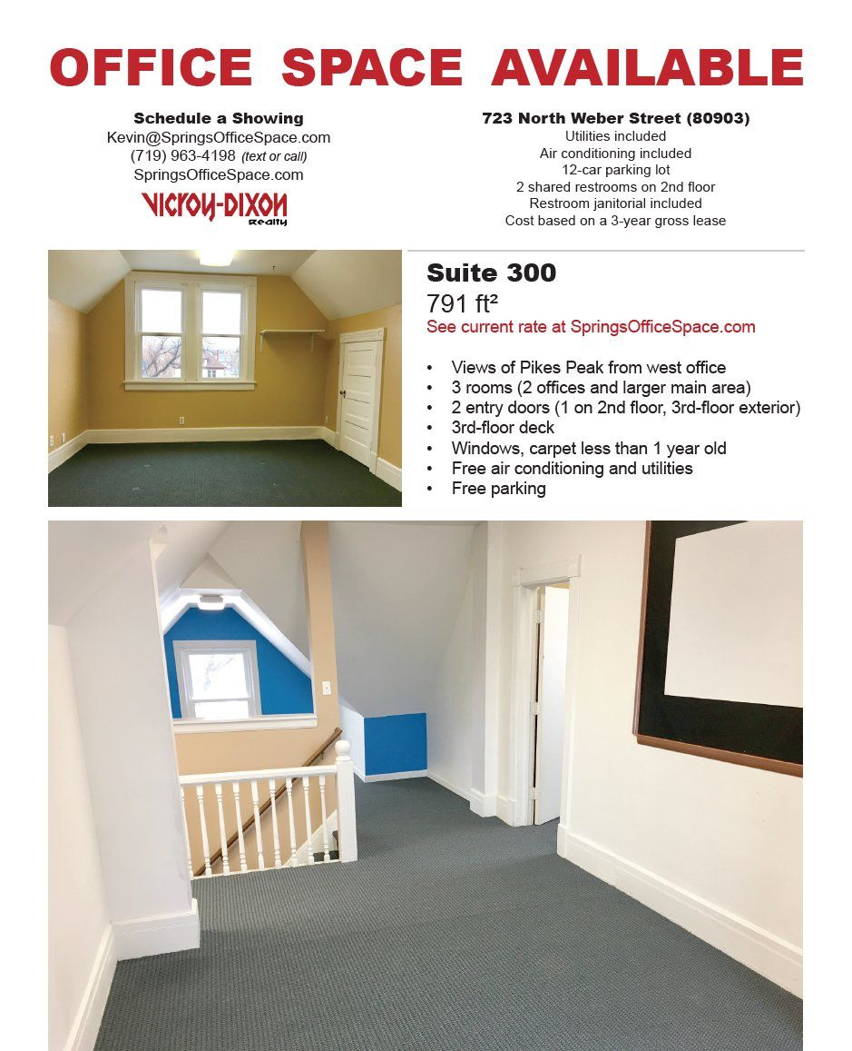 One 3rd Floor Office Suite Available For Rent Downtown Coloradosprings Sweet View Of Pikespeak Affordable Office Office Space Rent