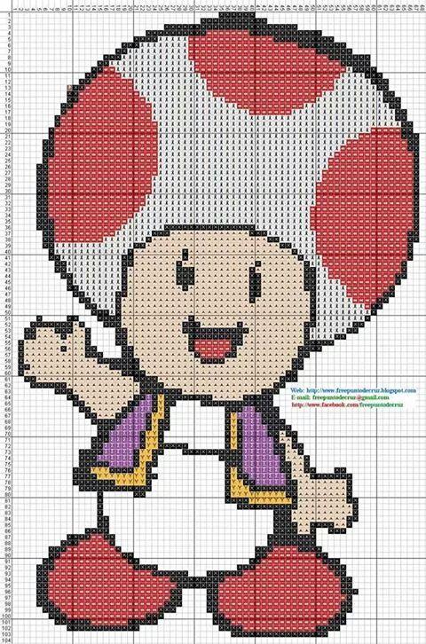 TOAD Mario bros   pixel art   Pinterest   Punto de cruz, Punto y ...