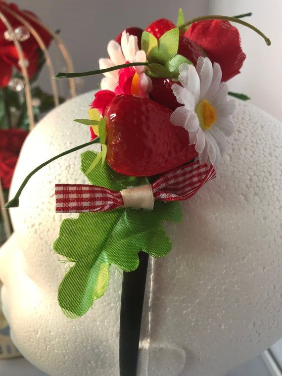 Vintage style strawberry and cherry flower hair fascinator red white rockabilly races weddings 1950s #fascinatorstyles
