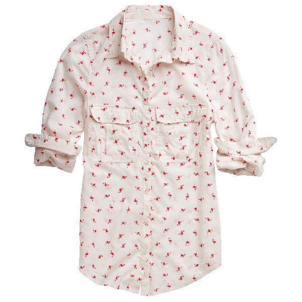 flamingo print button down boyfriend shirt found on Polyvore