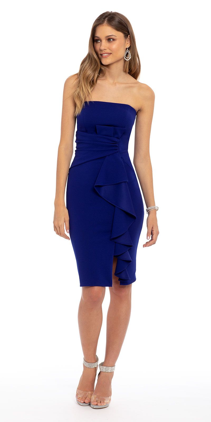 Strapless Crepe Ruched Side Ruffle Dress Knee Length Cocktail Dress Guest Dresses Wedding Guest Dress [ 1600 x 800 Pixel ]